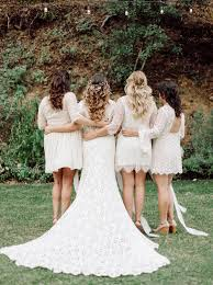 Bohemian Meets Rustic Wedding Bridal Party In White Lace Lots