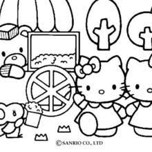 Hello Kitty Building A Sand Castle Eating Popcorns With Friends Coloring Page