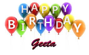Geeta Happy Birthday Balloons Name PNG