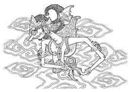 Gatot Kaca In Javanese Puppet Shadow Style From BATIK Coloring Book For Adults Published