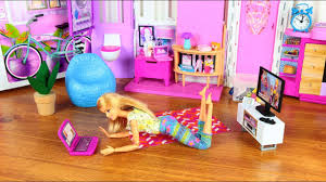 Barbie Living Room Playset by Barbie Pink House Living Room Barbie Toys Video Youtube