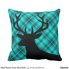Idea Turquoise Pillows For Couch And Plaid Rustic Deer Head Silhouette Teal Throw Pillow 92