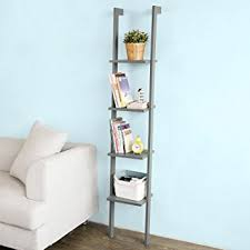 amazon com haotian white modern wood ladder shelf 4 tiers stand