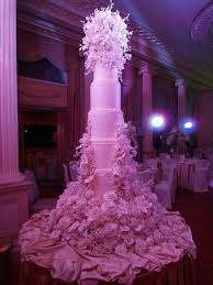 Extremely Tall Pink Wedding cake with Flower Bouquets