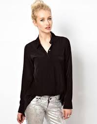 loose slit back sheer chiffon blouse button up shirt black