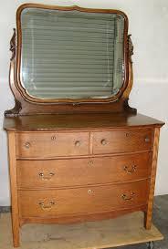 Tiger Oak Dresser Beveled Mirror by Antique Victorian Quarter Sawn Solid Oak Bow Front Dresser With