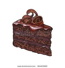 Hand drawn piece of layered chocolate cake with icing and shavings sketch style vector illustration
