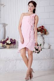 Delicate Pink Chiffon One Shoulder A Line Mini Length Short Prom Dresses With Floral