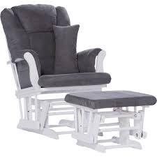 Details About Storkcraft Tuscany Glider And Ottoman With Lumbar Pillow  White With Gray Cushio