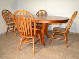 100 Cherry Table And 4 Chairs Oval Solid Birch Set In Finish Kitchen S
