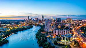 100 Austin City View Aerial Skyline Twilight Texas Landscapes Skyline