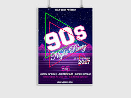 90s Night Party Event Music Flyer Poster Design Neon