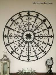 Black Wrought Iron Wall Decor Large Round DECOR Rustic Scroll Fleur De Lis