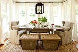 french burlap ottomans cottage dining room southern living