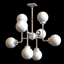 Restoration Hardware BISTRO GLOBE MILK GLASS 8LIGHT CHANDELIER 3D