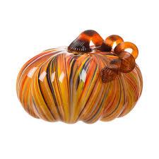 Glass Hand Blown Pumpkins by Glitzhome 6 5 U0027 U0027 Multi Striped Large Glass Pumpkin Art Sculpture