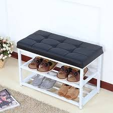 Casa Metal Shoe Bench 2 Tier Shoe Rack Entryway Leather Top Black