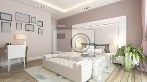fototapete ein 3d rendering der modernen schlafzimmer mit rosa wand
