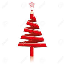 Red Pencil In Shape Of Christmas Tree Stock Vector