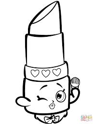 Lips Coloring Page Beauty Lippy Shopkin Free