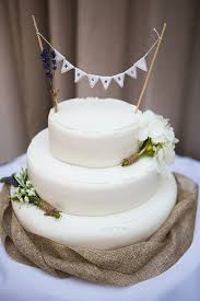 Rustic Wedding Cake With Mr And Mrs Bunting Topper