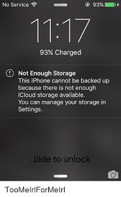No Service 93% 93% Charged O Not Enough Storage This iPhone Cannot