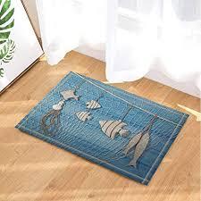 gohebe deko fischernetz mit nautischen holz hintergrund bad teppich rutschfest fußabtreter mit entryways innen tür matte für kinder badteppich mit