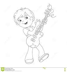 Coloring Page Outline Of Cartoon Boy Playing Guitar Stock Photo