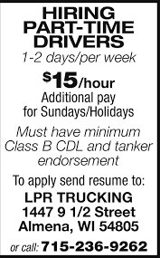 Part-Time Drivers, LPR Trucking, Almena, WI Truck Driving Jobs In Nashville Tn Cdl Class A Driver Local Reimer Bros Trucking Ltd Armstrong Bc Drivers Wanted Trucking Jobs Drivejbhuntcom Company And Ipdent Contractor Job Search At Louisville Ky Best Image Kusaboshicom Area Resource How Went From A Great To Terrible One Money History Leasing Atlanta 3pl Transportation Staffing Gulfport Ms Gulf Intermodal Services Full Time Part Cheshire Ct Lily Drivers Barons Bus Lines Can Be Lucrative For People With Degrees Or Students Opportunities In Mumbai