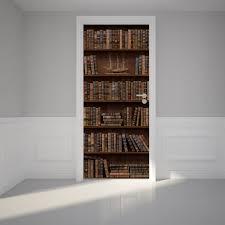 door wall sticker wooden bookshelf with antique books peel