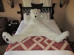 Fluffy burr sprawling on his bed at Kidani Animal Kingdom resort