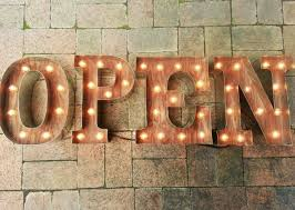 open sign letters custom business marquee light up letters rustic