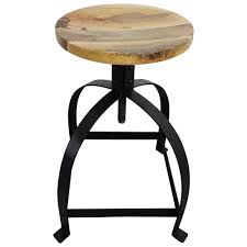 hocker drehhocker metall stuhl drehbar höhenverstellbar mit mango holz design