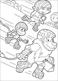 Dora Skating With Boots And Lion Coloring Page