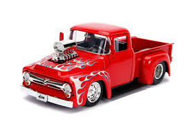 100 Ford Toy Trucks Amazoncom Jada 1956 F100 Pickup Truck With Blower Glossy Red