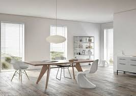 Minimalist Dining Chair White Wave Shaped Ceiling Lights And Black High Gloss Finish Wooden Table Rustic Wodoen Built In Gas Fireplace Room