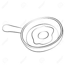 Black outline vector pan fried egg on white background Stock Vector