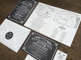 Chalkboard Wedding Invitation Black White And Kraft Rustic Style Old School
