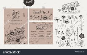 Rustic Style Wedding Collection Invitation Menu Thank You Isolated Of