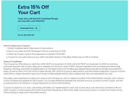 Tomorrow 11/21 Ebay Is Running A 15% Off Discount Code. 5AM ... Ebay Gives You A 15 Discount On The Entire Website As Part Printable Outlet Coupons Nike Golden Ginger Wilmington Coupon Great Lakes Skipper Coupon Code 2018 Codes Free 10 Plus Voucher No Minimum Spend Members Only Off App Purchases Today Only Hardforum 5 Off 25 Or More Ymmv Slickdealsnet Ebay Code Free Shipping For Simply Ebay Chase 125 Dollars Promo Ypal Www My T Mobile Norton Renewal Baby Deals Direct Nbury New May 2016