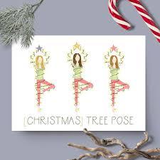 Christmas Tree Pose Yoga Holiday Card Blank Inside