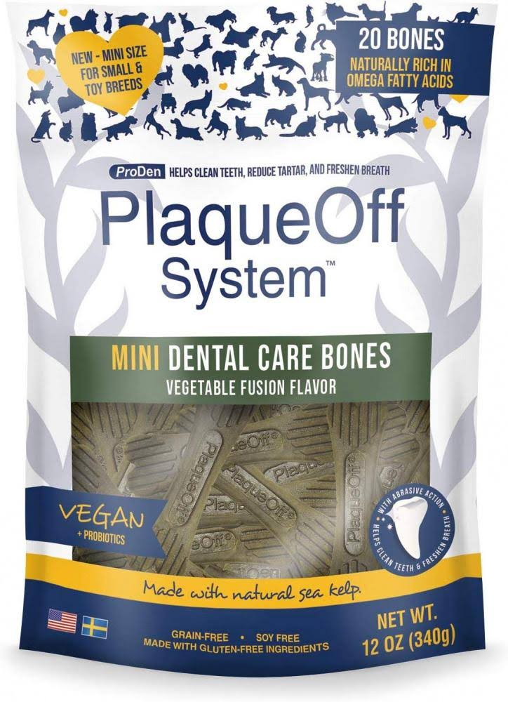Proden PlaqueOff Mini Dental Vegetable Fusion Bones for Small Breed Dogs - 12 oz