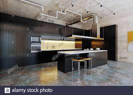 Modern White Kitchen Interior 3d Rendering Stockfoto Und Modern Loft Kitchen Interior 3d Rendering Design Concept