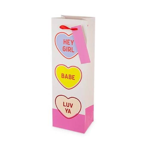 Cakewalk 7513 Conversation Hearts Single-Bottle Wine Bag, Pink