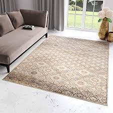 tapiso bohemian teppich klassisch kurzflor vintage orientalisch floral ornament muster hellbraun grau wohnzimmer ökotex 160 x 230 cm