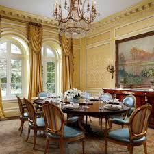Tuscan Dark Wood Floor And Brown Enclosed Dining Room Photo In Other With Yellow Walls