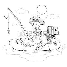 Cartoon Fisherman Who Himself Photographed Selfie Coloring Book Vector