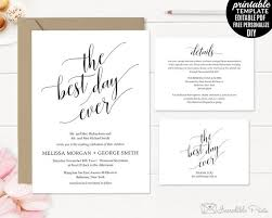 Wedding Invitation Template Printable Rustic Kraft Paper PDF Classic Elegant Modern DIY Calligraphy