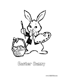 Easter Bunny Artist Coloring Page