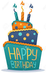 Happy birthday cake with candles Stock Vector